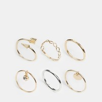 River Island Mixed Charm Finger Top Ring Multipack