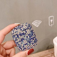 Earphone BLING SKY BLUE Cases For Apple AirPods 2 1 Hard Shell Pouch Luxury Air pods Wireless Bluetooth Protective Cover FREE SHIPPING