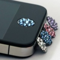 TOOGOO One piece blue Bling Rhinestone Home Button Sticker For iPhone in clear plastic bag