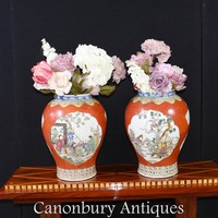 Canonbury - Pair Chinese Qing Porcelain Vases - Temple Jars Imperial Red