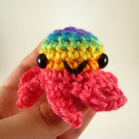 Bright Rainbow Striped Baby Octopus - Pink Base - Made to Order - Amigurumi Crochet Plushie