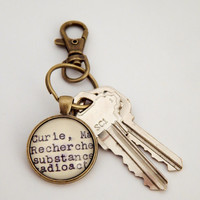 Marie Curie keychain, gifts under 10, scientist keychain, science gifts, book lovers key ring, women in science, inspirational gift