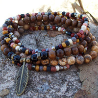 Feather Drop Charm - Stretch Stack Bracelets with Picture Jasper - Tribal Hippie - Rustic Bohemian - Gypsy