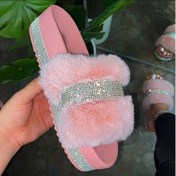 Pink Bling Fur Slipper Sandals