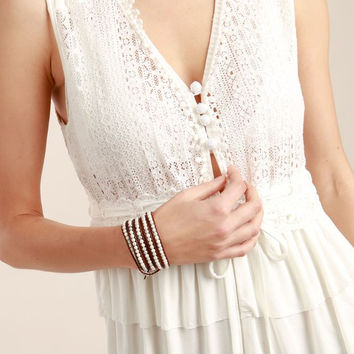 Lace Detailed Tiered Ruffle Peplum Sleeveless Top by POL