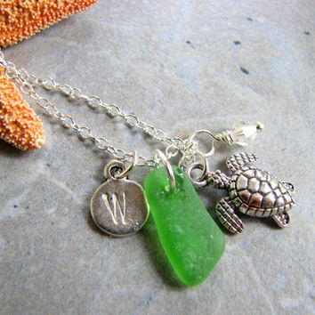 Personalized Sea Glass Jewelry, Stamped Charm Initial Necklace Sea Turtle Charm Sterling Silver 18 inch Chain, Nautical Jewelry, Beach Gifts
