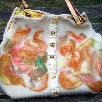 Eggshell Felted Wool Purse with Abstract Design by allwooledup