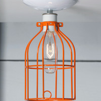 Industrial Lighting - Orange Cage Light - Ceiling Mount