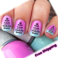 Nail WRAPS Nail Art Water Transfers Decals - Keep Calm And Do The Harlem Shake &
