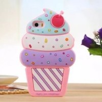 Cute 3D Cherry Ice Cream Silicone Soft Case Bumper Back Cover For iPhone 5 5G 5S