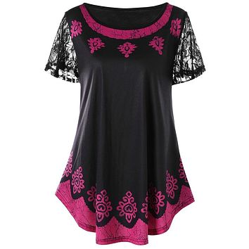 Tribal Print Short Sleeve Lace Dance Women T shirt 3680