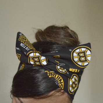 Boston Bruins, headband, Dolly bow head bands, head band, hair bow