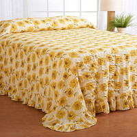 Queen size Floral Seersucker Bedspread in White & Yellow Sunflower Pattern