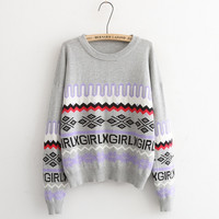 Letter And Geometric Print Knitted Sweater