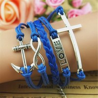 MagicPieces Anchor Cross Love Infinity 5 Layers Blue Handmade MultiLayered Bracelet For Women's Teens Friendship Birthday Gift