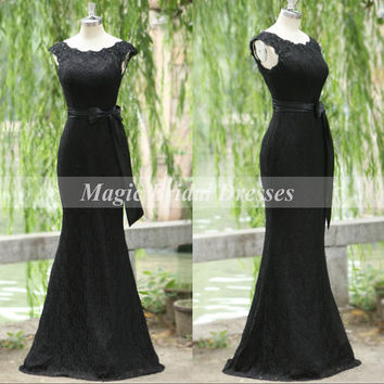 charming Black Lace Evening Dress 2015 Long Mermaid Women Formal Dress Scoop Neckline Sheath Slim Dress with Sash Elegant Mother Dresses