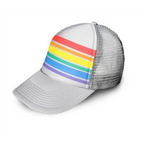Gray Rainbow Stripe Trucker Hat