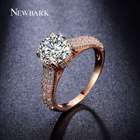 NEWBARK High Quality Big CZ Diamond Half Eternity Rings Rose Gold And Silver Color Prongs Crown Wedding Jewelry Rings For Women