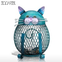 Tooarts Blue Cat Figurine Piggy Bank Metal Figurine Animal Money Box Vintage Home Decor Shaped Home Decoration Crafts For Home