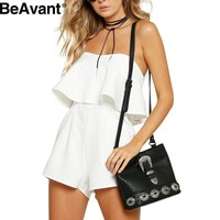 BeAvant summer 2016 off shoulder ruffles white women jumpsuit rompers One piece party red girls playsuits Sexy backless overalls