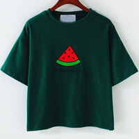 Green Short Sleeve Watermelon Embroidered Cropped T-Shirt
