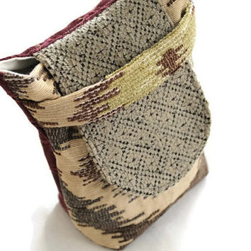 Gift Bag Party Favor Small Reusable Cream Gray Burgundy Brown Green Retro Upholstery Fabric Striped Holiday Wrapping --US Shipping Included