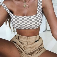 Buy Our Veda Crop in Nude Check Online Today! - Tiger Mist