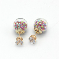Double Sided Fashion Diamond Round Hollow Ball Earrings