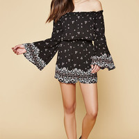 Kendall & Kylie Floral Off-The-Shoulder Bell Sleeve Romper at PacSun.com
