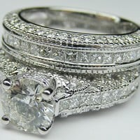 Engagement Ring - Vintage Three Side Pave Engagement Ring & Matching Wedding Ring in 14K White Gold - ES927BRBSWG