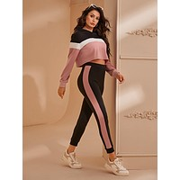 SHEIN Colorblock Crop Hoodie and Contrast Sideseam Joggers Set