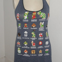 Women's Halter top made from Super Mario Bros 8bit Bowser Peach t shirt Size Small