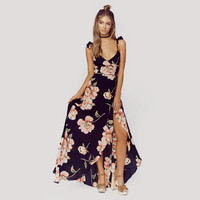 Fashion Floral Print Dress Women Backless Split Maxi Dress Deep V-neck Sexy Party Dress Casual Bohemian Dresses