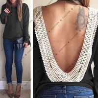 2014 fashion spring autumn clothing sexy backless shirt casual blouses for women = 1667671556