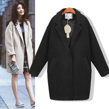 2017 Hot sale Cocoon coat women coat female overcoat female spring autumn slim blend woolen coat woolen outerwear casaco winter