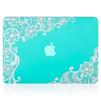"""Kuzy - Retina 13-inch Lace TEAL HOT BLUE Rubberized Hard Case for MacBook Pro 13.3"""" with Retina Display A1502 / A1425 (NEWEST VERSION) Shell Cover - Lace TEAL"""