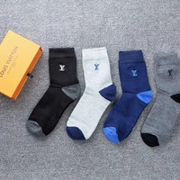 LV LOUIS VUITTON Stocking Women Men Letter Print Breathable Sport Cotton Socks