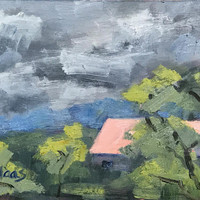 CLOUDY DAY at Big Break - 6 x 8 - Oil Painting - Original Landscape - Roof - Big Break Regional Park - Home Decor - California - Beach Home