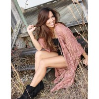 Lace Embroidered Duster - Dusty Pink