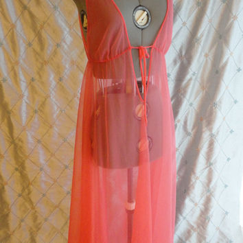 ON SALE 60s Lingerie // Vintage 1960s Coral Pink Chiffon Sexy See Through Plunge Negligee by Barad Size M
