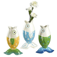 Silly Beach Themed Fish Posie Vases - Set of 3