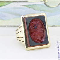 Victorian Ring | Antique Statement Ring | Unique Cocktail Ring | 10k Yellow Gold Ring | Mens Intaglio Ring | Geometric Ring | Size 8.75