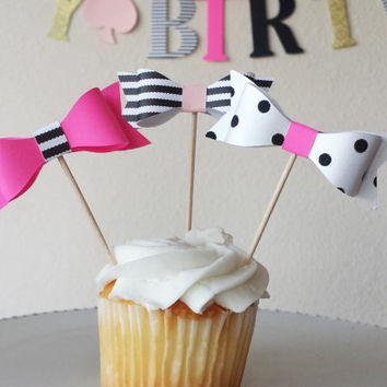 BOW cupcake toppers (10 per order),Kate Spade inspired, Bridal shower, Baby Shower, Birthday party