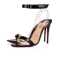 Christian Louboutin Cl Jonatina Black/transp Leather 18w Sandals 31805363230