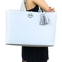 Tory Burch McGraw Leather Large Tote Seltzer Turquoise Green Tassel