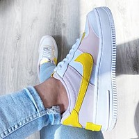 NIKE Air Force 1 Shadow Fashion Women Casual Sport Running Shoes Sneakers White&Yellow&Pink