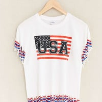 Vintage USA Fringed Tee - Urban Outfitters