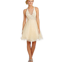 Glamour by Terani Couture Illusion High-Neck Bead Party Dress - Nude