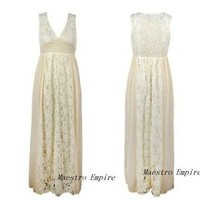 Ethereal Grecian Lace Boho Maxi Vintage Evening Nude Cocktail Sexy Long Dress