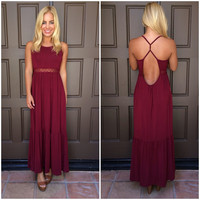High Profile Boho Maxi Dress - BURGUNDY